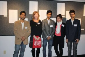 The Farm Girl event team...Marketing Intern Students, Chiranjeet Shah, Richard Parker and Zishan Khan with Krista Rolfzen Soukup and Crossing Arts Alliance Artistic Director Millie Engisch Morris