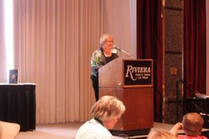 Author Candace Simar receiving her Spur Finalist Award at the Western Writers of America Convention